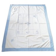 Near Mint Vintage Blue Work Embroidered Child's Bed Cover