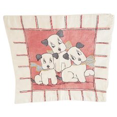 Vintage Hand Embroidered Pillow Cover With 3 Puppies Design