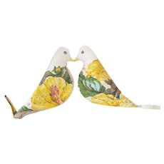 "Pair of Vintage Folk Art ""Lovebirds"" Pot Holders From My Collection"