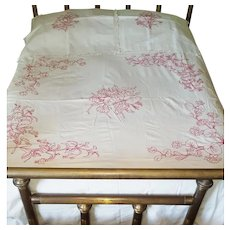 Beautiful Antique Redwork Summer Bedspread With Matching Pillow Covers