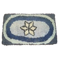 Vintage Hooked & Shirred Rug with Central Star Design