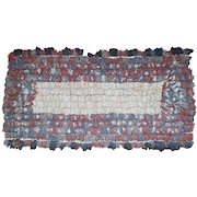Vintage Primitive Folk Art Shirred Rug Completed on Old Ticking