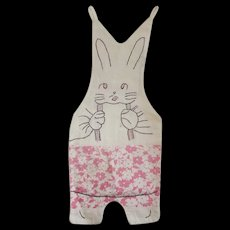 Vintage 1940's Bunny in Suspenders Pajama Bag from my Collection
