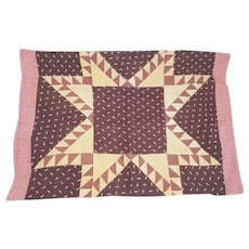 Rare Antique C. 1860's PA. Folk Art Feathered Star Pillow Cover