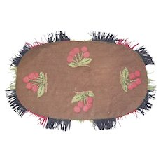 Vintage Wool  Applique Cherry Cluster Design Table Runner From My Collection