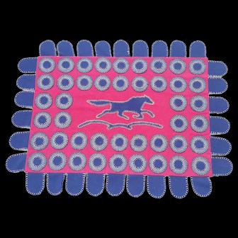 Near Mint Folk Art Wool Felt Penny Rug With Central Horse Design