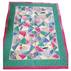 Funky Vintage Primitive Hand Made Folk Art Duck Design Quilt