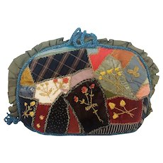 Rare Antique Victorian Folk Art Crazy Quilt Tea Cozy