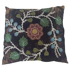 Unusual Antique early 1900's Native American Floral Design Beaded Pillow