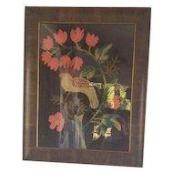 Antique Folk Art Framed Bird & Flowers Stump Work on Velvet
