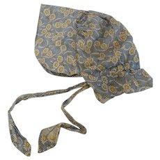 Vintage Folk Art Daisy Feedsack Fabric Pioneer Bonnet