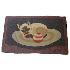 Vintage Folk Art Siamese Cat Hooked Rug