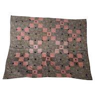 Antique Primitive Folk Art 9-Patch Newborn or Doll Quilt