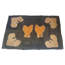 Antique Early 1900's Naive Folk Art Chickens Hooked Rug