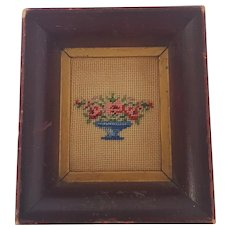 Antique Miniature Petitpoint Embroidery of Flower Compote