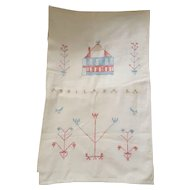 Rare 19th C. PA. Folk Art Show Towel with House & Birds