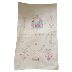 Rare Early to Mid 19th C. PA. Folk Art Show Towel with House & Birds