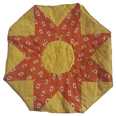 Vintage Primitive Folk Art Quilted Red & Yellow Flower Design Hexagonal Table Mat