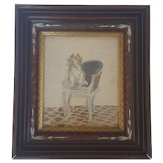 Charming Vintage Framed Needlepoint Embroidery of Puppy Dog in Chair