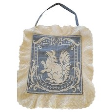 Antique Victorian Folk Art Homespun Woman's Pocket with Squirrel Design from my Collection