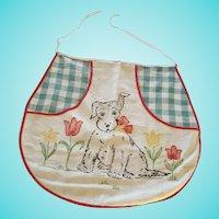 Vintage Folk Art Scottie Puppy Dog Design Child's Apron From My Collection