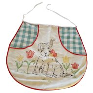 Vintage Folk Art Scottie Puppy Dog Design Child's Apron From My Collection