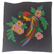 Vintage 1940's Folk Art Hooked Pillow Cover with Parrot on Floral Branch Design