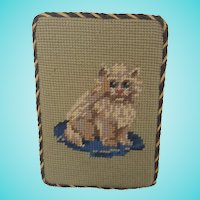 Vintage Needlepoint Picture of a Kitten Sitting on a Cushion