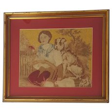 Charming Vintage Needlepoint Depiction of Girl, Dog & 2 Rabbits