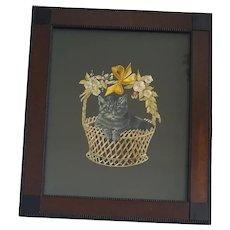 Adorable Vintage Framed Needlepoint & Paint Depiction of Cat in Basket