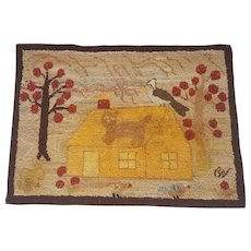 Vintage Signed Canadian Folk Art Hooked Rug With House, Cat, Birds, & Rabbit
