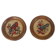 Pair of Vintage Round Framed Hooked Bird on Branch Pictures