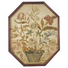 Early 19th C. Silk on Silk Embroidery of Basket of Flowers