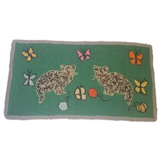 Vintage Canadian Folk Art Hooked Rug with Cats & Butterflies Design