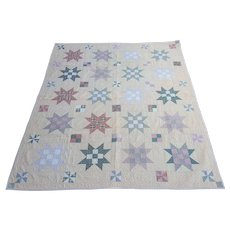 Vintage Folk Art 8-Point Star Crib Quilt