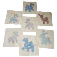 7 Vintage Folk Art Animal Design Quilt Blocks