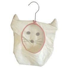 Cute Vintage Primitive Folk Art 1940's Cat Clothespin Bag