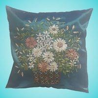 Vintage Handmade Ribbon Work Basket of Flowers Design Pillow