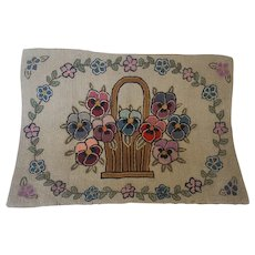 Antique Early 1900's Folk Art Basket of Pansies Hooked Rug