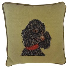 Vintage Needlepoint Pillow with Black Poodle Design