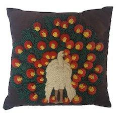 Vintage Folk Art Peacock Design Hooked Pillow