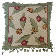 Vintage Needlepoint Ladybug Design Pillow