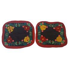 Pair of Vintage Folk Art Hooked Punchwork Floral Design Chair Pads