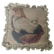 Vintage Needlepoint Pillow with White Poodle Design