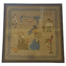 Vintage Dtd. 1929 Figural Sampler with Birds, Women at Tea, Initials +