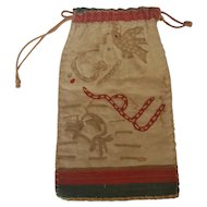 Rare Antique Late 19th-Early 20th C. Folk Art Embroidered Sailor's Ditty Bag