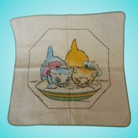 Vintage Embroidered Muslin Pillow Cover with 2 Kittens Drinking Milk
