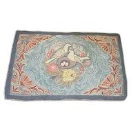 Vintage Folk Art Hooked Rug with Dove Birds & Nest with Eggs Design
