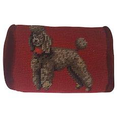 Vintage Needlepoint Poodle Brick Doorstop