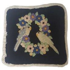 Vintage Lovebirds Design Hooked Stumpwork Pillow Cover